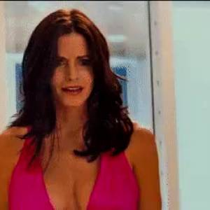 Courteney Cox Sexy Cleavage In Pink