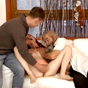 DADDY4K. Awesome old and young scene turns into crazy threes