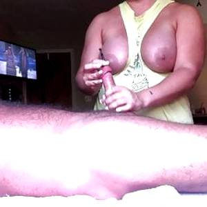 Jerking daddy off and sounding his cock till cums
