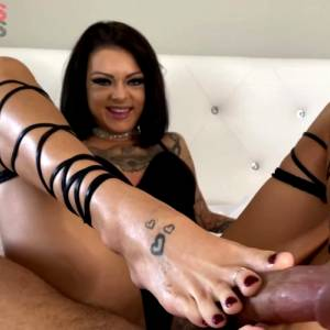 Kimber Veils In Fit Babe Licks Cum Off Her Own Feet After Amazing Fuck And Foot Job! 2 Pop Shots!