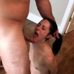 On Her Knees Gagging