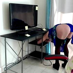 Stepmom gets stuck in a desk and stepson fucks her