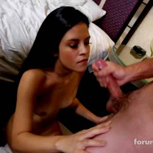 Young Brunette Gets Her First Facial